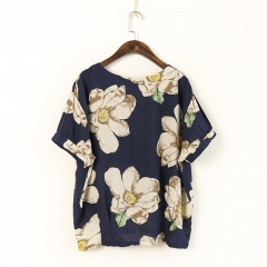 Summer New Women Print Flower Round Neck Cotton Linen Short Sleeve T-Shirt Loose Vintage Girl Top blue one size