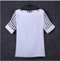t shirt woman Summer 2017 Casual Chiffon Hollow Out Slash Neck t shirt Pure color White Tops white S