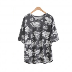 Summer Plus size Tops Women Clothing Casual Loose Short sleeve Print Cotton Big size T-shirts Tees black XL
