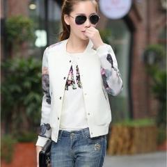 Women Jacket Flower Print Girl Plus Size Casual baseball Sweatshirt Button Thin Long Sleeves Coat white S