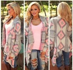 Women Basic Coats irregular longsleeve sexy Plus size jaqueta feminina Print knitted jacket cardigan pink S