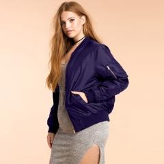 Plus Size  Fashion Women Clothing Casual Solid Zipper Jacket Coat Long Sleeve Big Size Basic Jacket purple 3XL