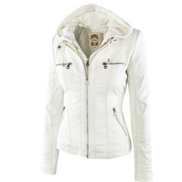Winter Leather Jacket Women's Basic Coats Long Sleeve Hat Removable Waterproof Windproof Jackets white L