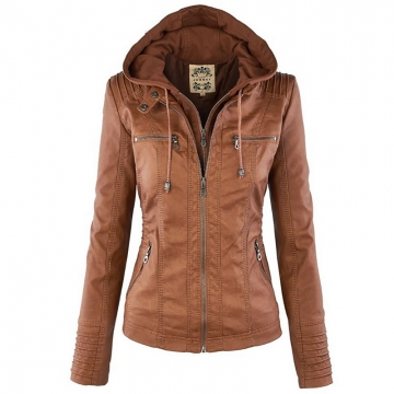 Winter Leather Jacket Women's Basic Coats Long Sleeve Hat Removable Waterproof Windproof Jackets khaki XL
