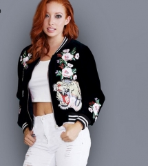 Bomber Jacket Women Coats Velvet Stand Collar 3D Roses Tiger Embroidery Outwear chaquetas mujer black S