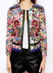O neck Embroidered Contrast Color Floral Print Paisley Women's Vintage Thin Padded Jacket Coats #01 S