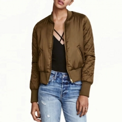 Bomber Jacket Women Basic CoatsTimechee Zipper Short Slim Solid Color Baseball Jackets Jaqueta #01 S