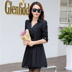 Women's Lace Lap Style Solid Colour Double Breasted Long Coat  Slim Trench Coat Windbreaker black M