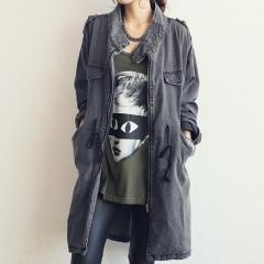 Long Denim Jacket Womens 2017 New Fashion Stand Collar Epaulets Embellished #01 M
