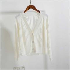 sweater women short Cardigan Knitted Sweater jacket coat Female Casual Cardigans Tops v neck botton white one size