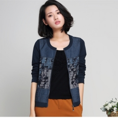Denim baseball jackets female spring plus size M-4XL patchwork print short coat 94% cotton blue M