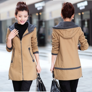 New  women trench coat slim fashion plus size medium-long windbreaker patchwork OL hooded outwear khaki M