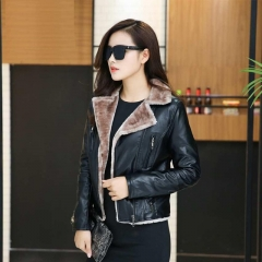design shearling faux pu leather jacket women suede lady  coats short  casual flocking clothes black L