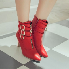 New Women High Heels Ankle Boots Pointed Toe Buckle Martin Boots Zip Ladies Shoes White Big Size red US8.5