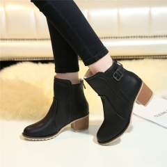 Autumn winter Snow boots Square high heels Shoes Casual Martin women zipper leather Ankle Boots black US5