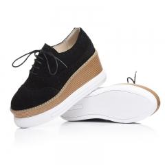 Brogue Cow Suede Pigskin Vulcanize Shoes Women Casual Platform High Heels Wedges Girl Footwear black 4