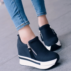 Fashion Women Casual Shoes Height Increasing Zipper Black Women Walking Flats Trainers  Breathable black US5