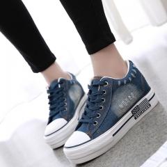Women Shoes Lace Up Casual Denim Canvas Shoes Woman Platform Ladies Shoes Spring Summer blue 4