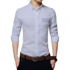 Mens Solid Shirts Striped Cotton Slim Fit Casual Long Sleeve Shirt Zipper Shirts Pure Color Camisa white M