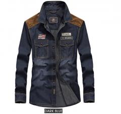 Men's Shirts Cotton Denim Males Casual Shirts High Quality Modern Simple Classical Thin Jeans Shirts dark blue S