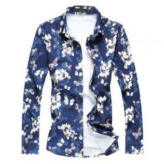 2017 Spring Mens Navy Blue Plaid Shirt Plus Size M-7XL Long Sleeve Floral Shirts For Men #01 M