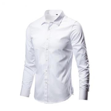 High Quality Classic Twill Business Men's Shirts Long Sleeve Turndown Collar Plus Size Dress Shirt white M