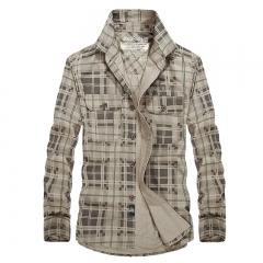 The new autumn men's long sleeve shirt Big Size jeep leisure men's shirt Man Slim cotton lapel shirt khaki M