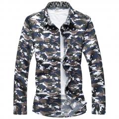 New Autumn Fashion Brand Men Clothes Plus size Men Long Sleeve Shirt Latest Designer Camo Shirt army green M