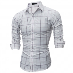 plaid Men Shirt Camisas Hombre Vestir Long Sleeve Dress Shirts Camisa Social Masculina Casual Shirts white M