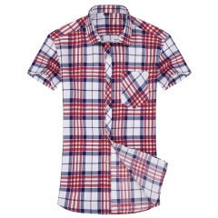 New Arrivals Mens Plaid Shirt Summer Style Fashion Casual Slim Fitness Short Sleeve Dress Shirts red Asian size38