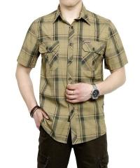 2017 New Summer Plus Size Plaid HOT SELL Casual Shirt Men Cotton Short Sleeve Shirt HOT Sale khaki Asian size M