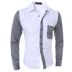 Men Shirt Long Sleeve Casual Male Slim Fit Plaid Sleeve Pocket Chemise Mens Camisas Dress Shirts white Asian size M