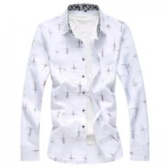 Men Casual Shirt Spring Autumn Long Sleeve Blue White Slim Printing Slim Fit Print Social Camisa white Asian size M