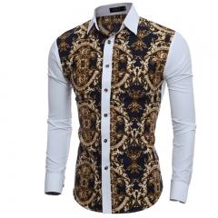Men Shirt Male Long Sleeve Shirts Casual Great Body Pattern Printing Slim Fit Dress Shirts Hawaiian #01 Asian size M