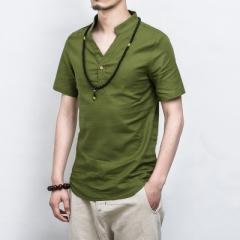 Summer Casual Men Linen Shirt short Sleeve Solid V Neck Collar Leisure Morning Exercise Clothes #01 Asian size S