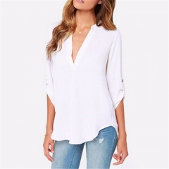 Women casual sold long sleeve chiffon blouse Autumn new tops female sexy V neck loose blouses white S