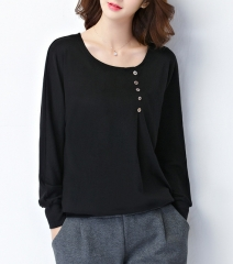 Women Casual Loose Summer Tops And Blouses O Neck Long Batwing Sleeve Button Solid Blouse black S