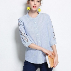 Summer Female Blouse Cotton Flower Embroidered Plus Size Floral Embroidery Women Striped Shirt blue L