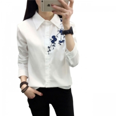 Women Embroidery Blouse White Shirts Casual Long Sleeve Cotton College Style Turn Down Collar Tops #01 S