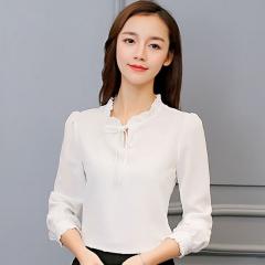 Woman'S Fashion Shirts Blouses Korean Style Long Sleeve Chiffon Blouse Ladies Office Shirts white S