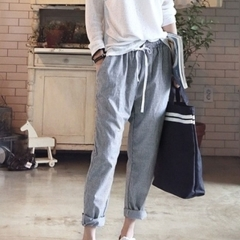Pants Women Casual Elastic Waisted Cotton Striped Drawstring Sweatpants Plus Size Pantalones Mujer gray S