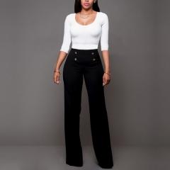 High Waist Wide Leg Boot Cut Pants Summer Women Fashion Elegant Button Office Long Trousers New black S