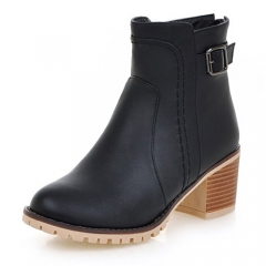 women ankle boots with Buckle zipper Thick high-heeled Platform shoes plus size Female Footwear black 35