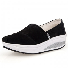 Solid Canvas Shoes For Women Platform Slip On Shoes For Womens Leather Pigskin sapato feminino black 9