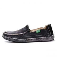 New arrival Mens Breathable High Quality Casual Shoes Jeans Canvas Casual Shoes Slip On Flats Loafer black US7