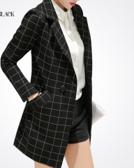 Female blazer spring autumn women jacket slim medium-long plaid long-sleeve casual suit blazer black S