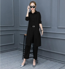 3 Pieces Casual Women Sets Solid Shirt Hollow out Long Cardigan Coat and Pant Slim Lady Suits black S