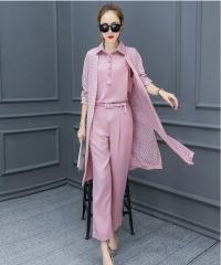 3 Pieces Casual Women Sets Solid Shirt Hollow out Long Cardigan Coat and Pant Slim Lady Suits pink L