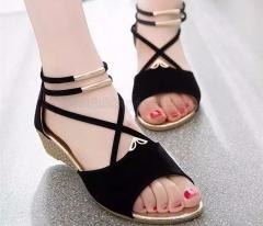 Women Wedge Sandles Fish Mouth Design Korean Style Women's Flat Sandles black US5.5