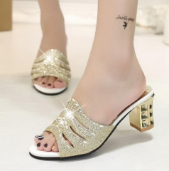 fashion Summer sexy women sandals shallow mouth female rhinestone ladies shoes thick heel sandals gold US 6